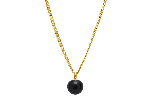 mini pearl-01-02 gold plated Black