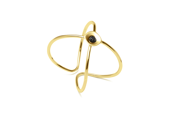 Embrace-04-01 gold plated Black diamond