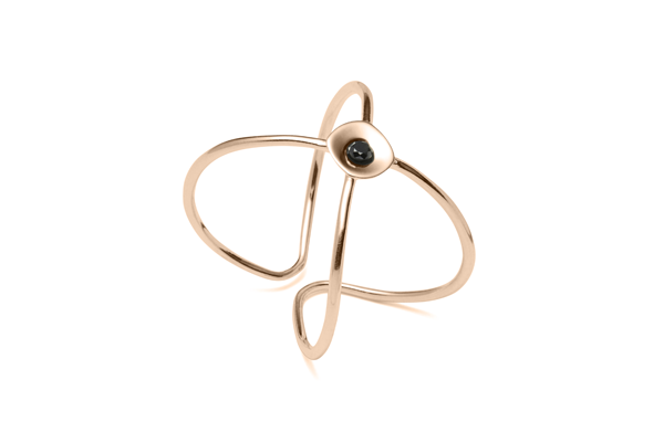 Embrace-04-01 rose gold plated Black diamond