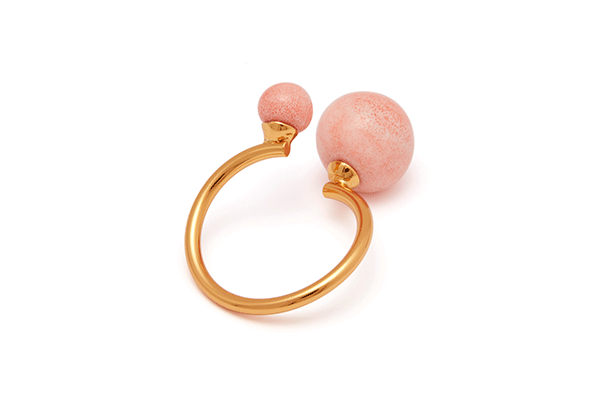 pearl-04-02 gold plated Pink Coral