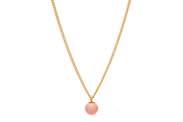 mini pearl-01-02 gold plated Pink Coral