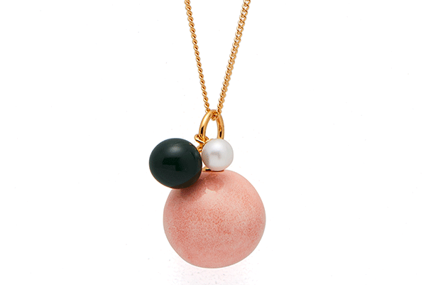 Fwpearl-01-01 gold plated Pink Coral / Dark Green / Fwwhite