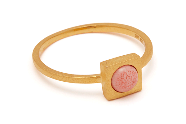 Minisquare-04-01 gold plated Pink Coral