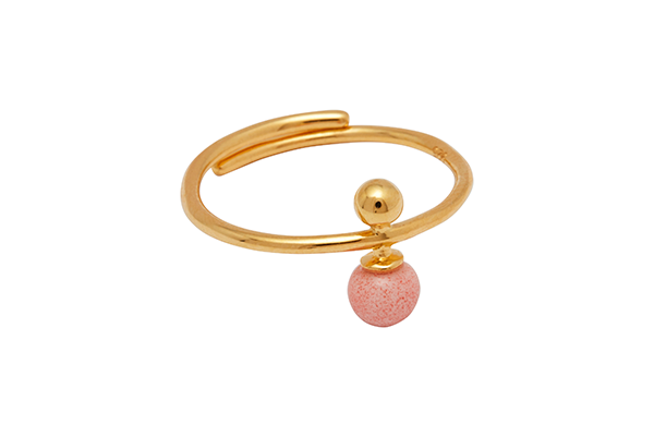 Sphere-04-03 gold plated Pink Coral